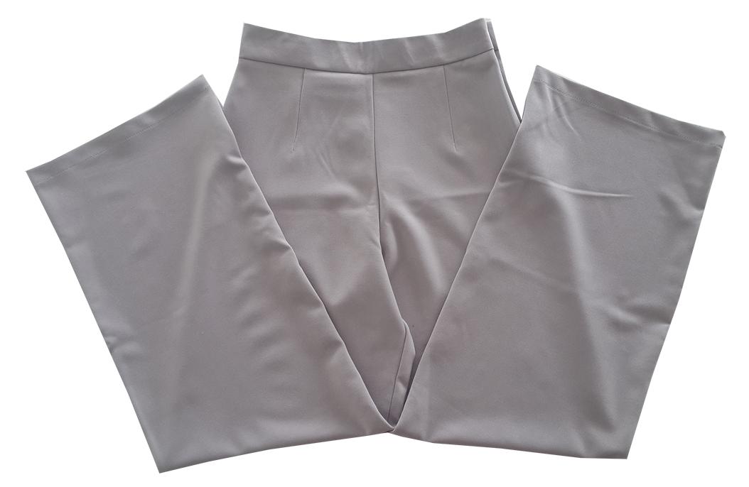 กางเกงขาบานเอวสูงผ้าฮานาโกะ สีเทา Size S M L XL