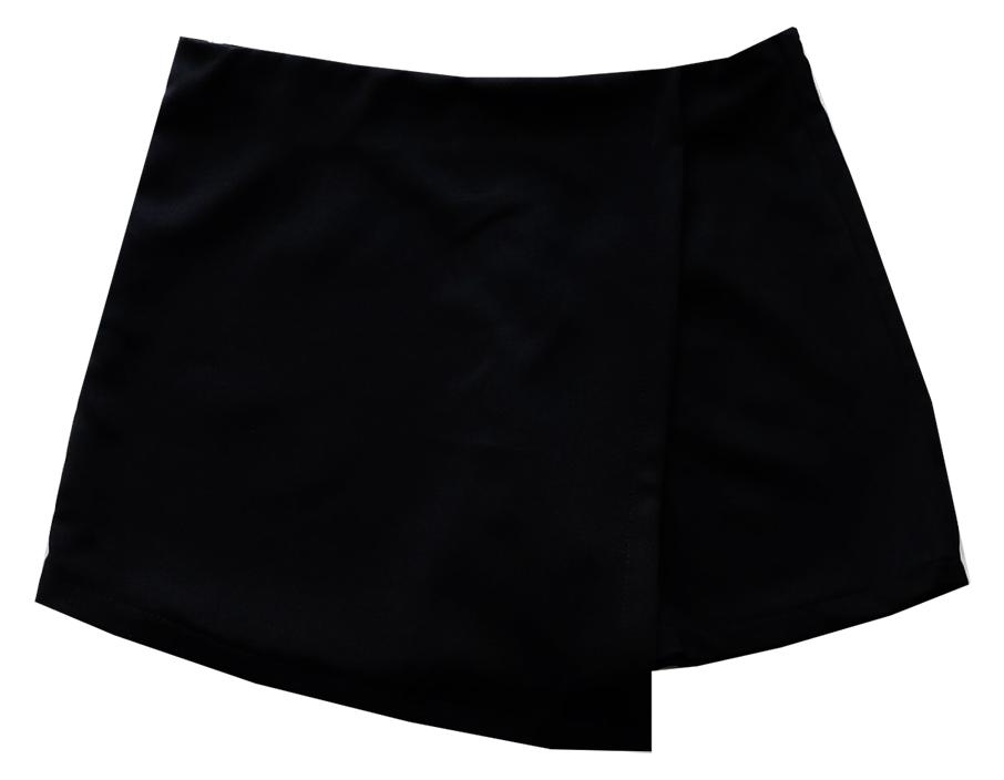 กางเกงกระโปรงป้าย เอวสูงขอบเรียบผ้าฮานาโกะ ซิปซ้าย สีดำ Size S M L XL