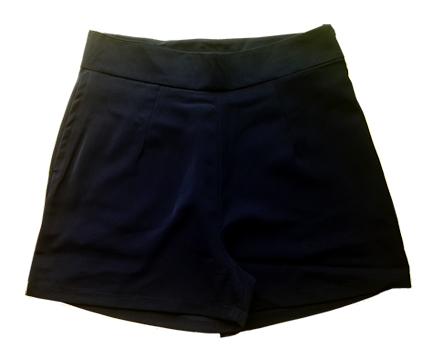 กางเกงขาสั้นเอวสูงผ้าฮานาโกะ สีดำ กระเป๋าขวา ซิปซ้าย Size S M L XL