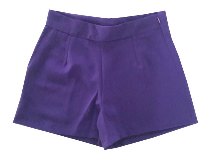 กางเกงขาสั้นเอวสูงผ้าฮานาโกะ สีม่วงเข้ม กระเป๋าขวา ซิปซ้าย Size 2XL 3XL