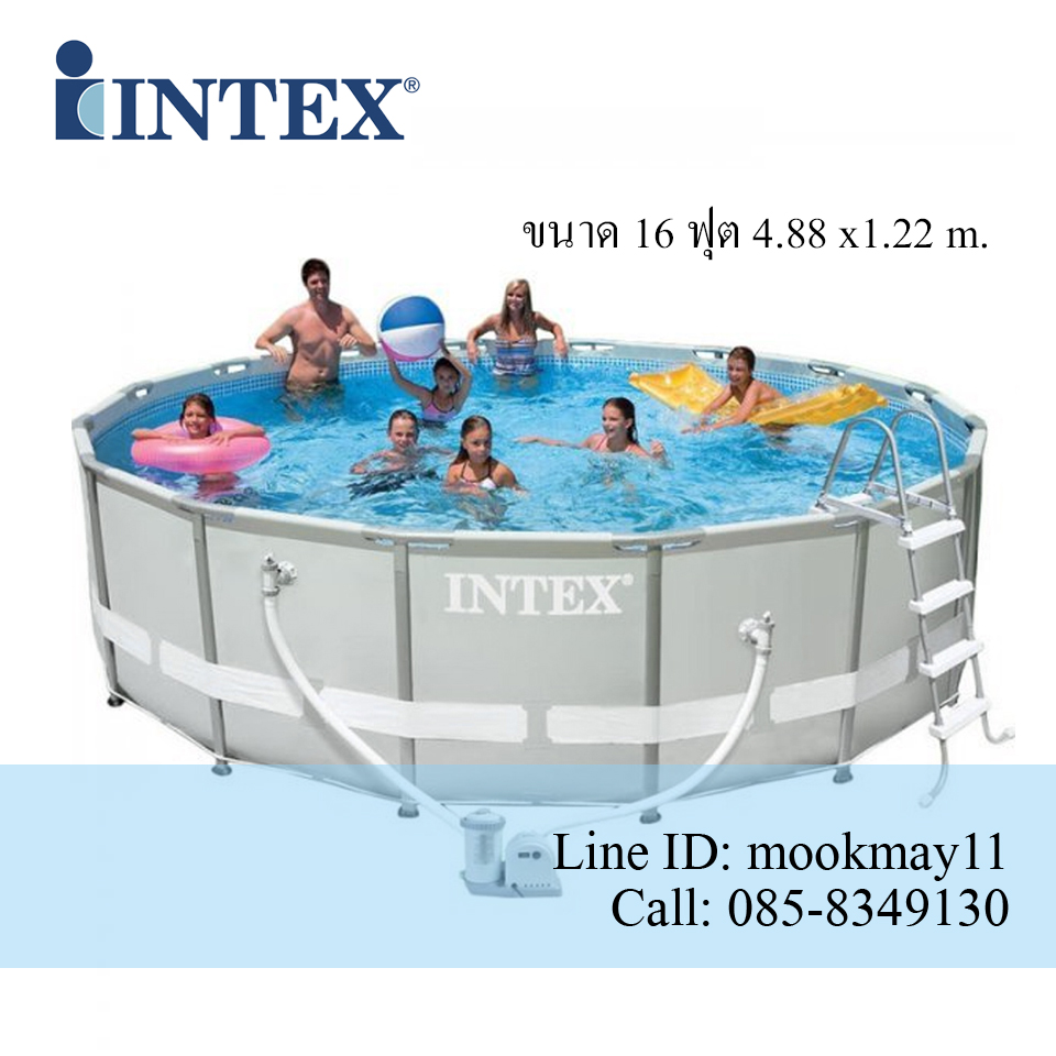 Intex Ultra Frame Pool 16 ฟุต เครื่องกรองระบบไส้กรอง (4.88 x 1.22 ม.) 28322