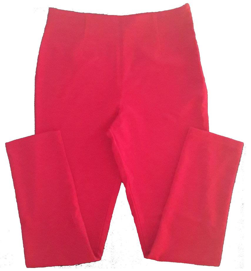 กางเกงขายาวผ้าฮานาโกะ ขาเดฟเอวสูง สีแดง Size S M L XL