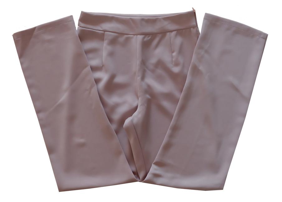 กางเกงขากระบอกเอวสูง ผ้าฮานาโกะ สีน้ำตาลนู๊ด Size S M L XL สำเนา