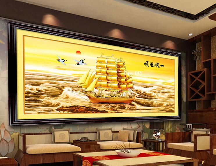 อุปกรณ์งานฝีมือ DIY ครอสติสคริสตัลรูปเรือสำเภาทอง (ใหญ่)