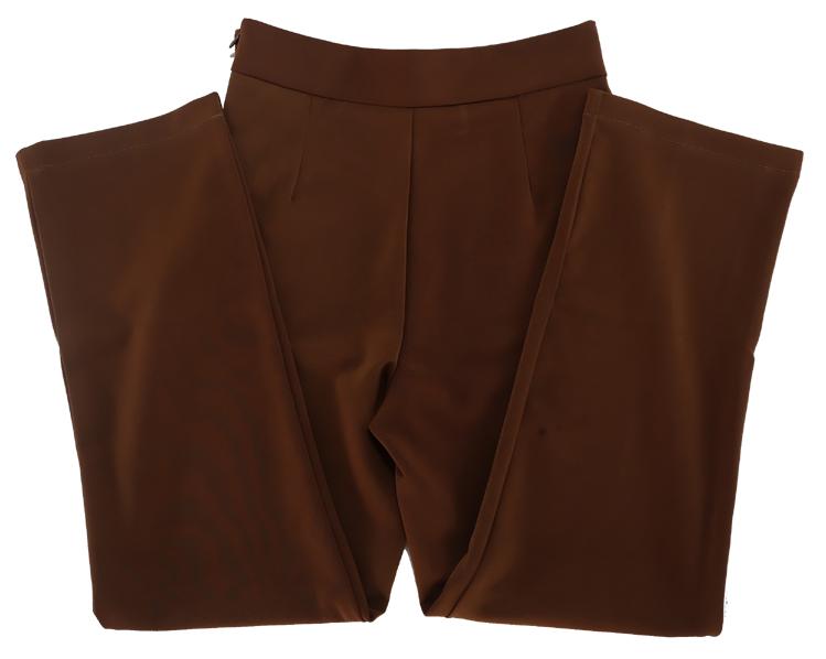 กางเกงขายาวผ้าฮานาโกะ ขากระบอกเอวสูง สีน้ำตาลเข้ม Size S M L XL