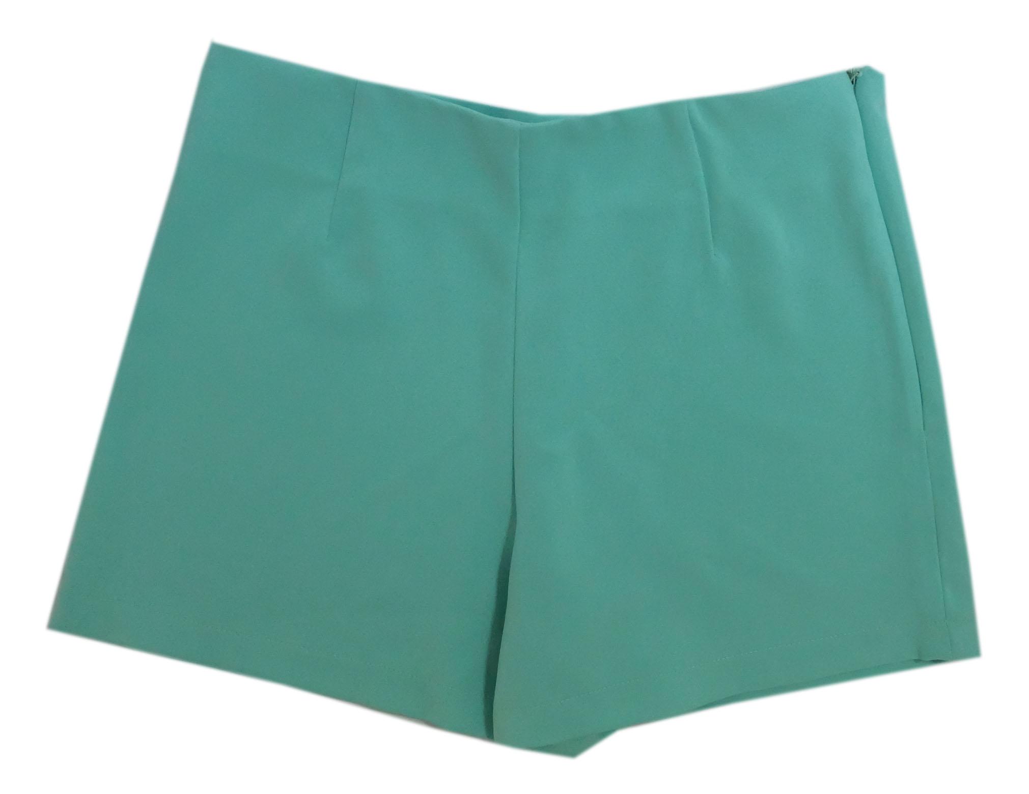 กางเกงขาสั้นเอวสูงขอบเรียบผ้าฮานาโกะ ซิปซ้าย กระเป๋าขวา สีเขียวมิ้น Size 2XL 3XL