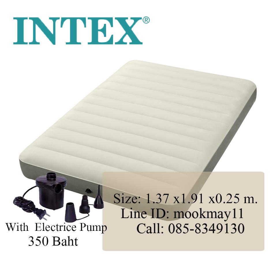Intex Deluxe Single-High Queen Size ที่นอนเป่าลมรุ่นดีลักซ์สีเบจ +สูบไฟฟ้า +แผ่นปะสำรอง