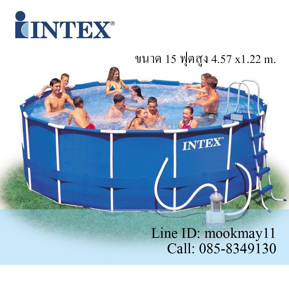 Intex Metal Frame pool 15 ฟุตสูงพิเศษ 28236 + เครื่องกรองระบบไส้กรอง