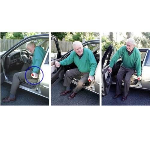 ภาพแสดงการใช้ราวพยุงตัวรถยนต์ ในการเข้าออก รถยนต์ เหมาะกับผู้สูงอายุ ผู้ป่วย ผ่าตัด มีอาการปวดหลัง ร้านขายสินค้าในราคาถูก