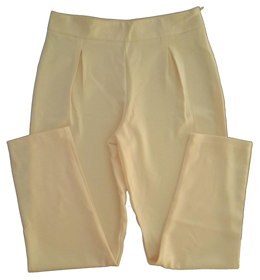 กางเกงขาเดฟเอวสูงจีบทวิตหน้า ผ้าฮานาโกะ สีเหลืองครีม Size S M L XL
