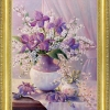 ครอสติสคริสตัลรูปดอกไม้ในแจกัน คริสตัลเม็ดกลมติดเต็มแผ่น