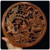 แผ่นไม้แกะศิลปะจีน-ลายหงส์ มังกร ทำสี 26.5 cm