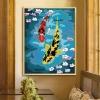 ภาพวาดปลาคราฟคู่ดอกซากุระ