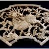 แผ่นไม้แกะสลักศิลปะจีน-กิเลนหรือม้ามังกร 20x40cm.