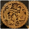 แผ่นไม้แกะสลักศิลปะจีน-หงส์ มังกร (ขอบหยัก) 26.5 cm.