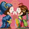 การ์ตูนคู่รักจีนสุดน่ารัก (ขนาดเล็ก มีพื้นหลัง 4 สี ขาว แดง ชมพู และฟ้าคราม)