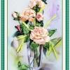 งานปักริบบิ้นรูปแจกันดอกกุหลาบสีหวาน By Easy DIY ครอสติสคริสตัล