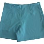 กางเกงขาสั้นเอวสูงขอบเรียบผ้าฮานาโกะ ซิปซ้าย กระเป๋าขวา สีฟ้า Size S M L XL