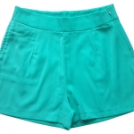 กางเกงขาสั้นเอวสูงผ้าฮานาโกะ สีเขียวมิ้น กระเป๋าขวา ซิปซ้าย Size S M L XL