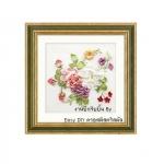 งานปักริบบิ้น (Ribbon embroidery) รูปดอกไม้คลาสิค 3 By Easy DIY ครอสติสคริสตัล