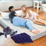 ที่นอนเป่าลม Intex 64103 Deluxe High Airbed with Fiber-Tech สีครีม แถมสูบไฟฟ้า+หมอน2ใบ ขนาด 152 x 203 x 25 ซม. ( 5 ฟุต)