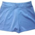 กางเกงขาสั้นเอวสูงผ้าฮานาโกะ สีฟ้าคราม กระเป๋าขวา ซิปซ้าย Size S M L XL