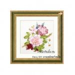 งานปักริบบิ้น (Ribbon embroidery) รูปดอกไม้คลาสิค 2 By Easy DIY ครอสติสคริสตัล