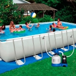 Intex Ultra Frame Rectangular Pool Water 24 ฟุต