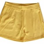 กางเกงขาสั้นเอวสูงผ้าฮานาโกะ สีเหลืองมัสตาท กระเป๋าขวา ซิปซ้าย Size S M L XL