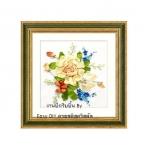 งานปักริบบิ้น (Ribbon embroidery) รูปดอกไม้คลาสิค 6 By Easy DIY ครอสติสคริสตัล