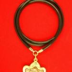 สร้อยยางโอริงข้อทองคำแท้ขัดเงา สำหรับแขวนพระ 2 องค์