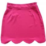 กระโปรงปลายหยัก ผ้าฮานาโกะ สีบานเย็น Size S M L XL