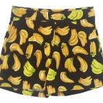 กางเกงขาสั้นเอวสูงผ้าฮานาโกะลายกล้วยสีดำ กระเป๋าขวาซิปซ้าย Size S M L XL