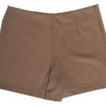 กางเกงขาสั้นเอวสูงขอบเรียบผ้าฮานาโกะ ซิปซ้าย กระเป๋าขวา สีน้ำตาล Size S M L XL