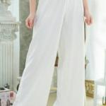 กางเกงขาบานเอวสูง ผ้าฮานาโกะ สีขาว ซิปซ้าย ไม่มีกระเป๋า Size S M L XL