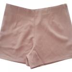 กางเกงขาสั้นเอวสูงขอบเรียบผ้าฮานาโกะ ซิปซ้าย กระเป๋าขวา สีชมพูกะปิ Size S M L XL