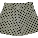 กางเกงขาสั้นเอวสูงผ้าฮานาโกะลายจุดดำพื้นขาว กระเป๋าขวาซิปซ้าย Size S M L XL