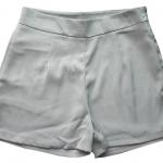 กางเกงขาสั้นเอวสูงผ้าฮานาโกะ สีเทา กระเป๋าขวา ซิปซ้าย Size S M L XL