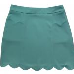 กระโปรงปลายหยักมีเป๋า ผ้าฮานาโกะ สีเขียวมิ้น Size S M L XL