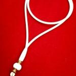 สร้อยโอริงสีขาวอย่างสวยคั่นเม็ดปะคำงาช้างแท้อะไหล่ทองคำ 90%