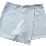 กางเกงกระโปรงป้าย เอวสูงขอบเรียบผ้าฮานาโกะ ซิปซ้าย สีขาว Size S M L XL