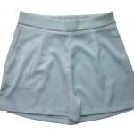 กางเกงขาสั้นเอวสูงผ้าฮานาโกะ สีขาว กระเป๋าขวา ซิปซ้าย Size S M L XL