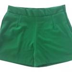 กางเกงขาสั้นเอวสูงผ้าฮานาโกะ สีเขียวไมโล กระเป๋าขวา ซิปซ้าย Size S M L XL