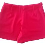 กางเกงขาสั้นเอวสูงขอบเรียบผ้าฮานาโกะ ซิปซ้าย กระเป๋าขวา สีบานเย็น Size S M L XL