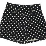 กางเกงขาสั้นเอวสูงผ้าฮานาโกะลายจุดขาวพื้นดำ กระเป๋าขวาซิปซ้าย Size S M L XL