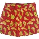 กางเกงขาสั้นเอวสูงผ้าฮานาโกะลายกล้วยสีแดง กระเป๋าขวาซิปซ้าย Size S M L XL