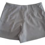 กางเกงขาสั้นเอวสูงขอบเรียบผ้าฮานาโกะ ซิปซ้าย กระเป๋าขวา สีเทา Size S M L XL