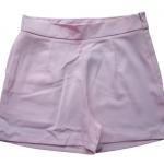 กางเกงขาสั้นเอวสูงผ้าฮานาโกะ สีชมพู กระเป๋าขวา ซิปซ้าย Size S M L XL