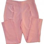 กางเกงขายาวผ้าฮานาโกะ ขาเดฟเอวสูงจีบทวิตหน้า สีชมพู Size S M L XL