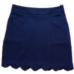 กระโปรงปลายหยักมีเป๋า ผ้าฮานาโกะ สีกรม Size S M L XL